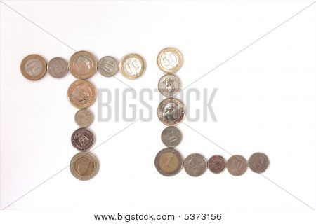 Turkish Lira coins TL shape isolated on white
