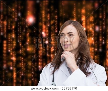 Composite image of thoughtful brunette doctor looking away