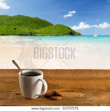 Morning Cup Of Coffee On Caribbean Beach