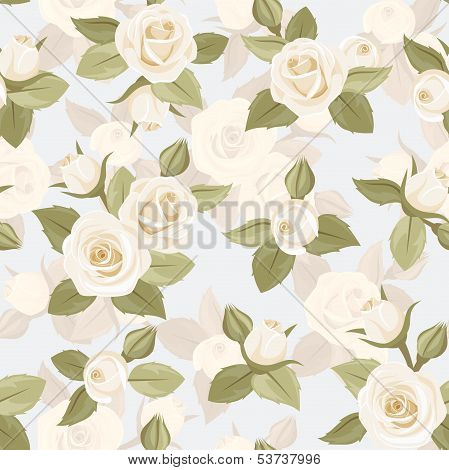 Vector seamless pattern with white roses on blue.