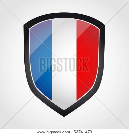 Shield with flag inside - France - vector