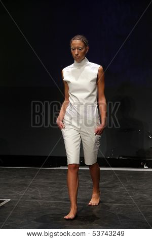 ZAGREB, CROATIA - NOVEMBER 07: Fashion model wearing clothes designed by Anita Matijanic on the Fashion Wardrobe show on November 07, 2013 in Zagreb, Croatia.