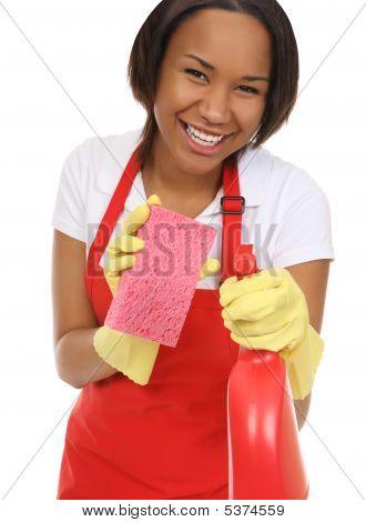 Pretty Maid Washing With Sponge