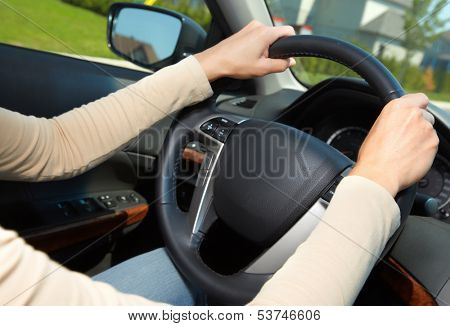 Car driver. Auto background.