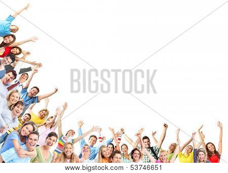 Happy people group dancing with hands up poster