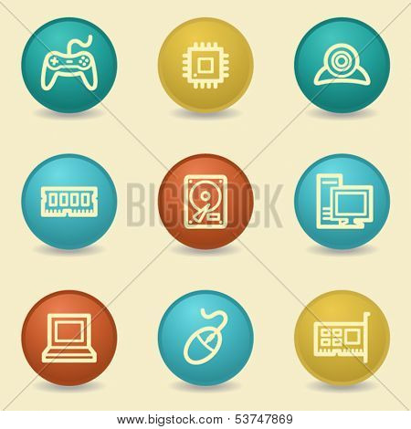 Computer web icons, retro buttons