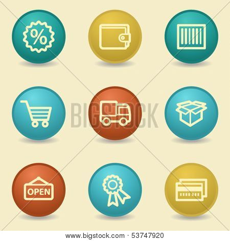 Shopping web icons, retro buttons
