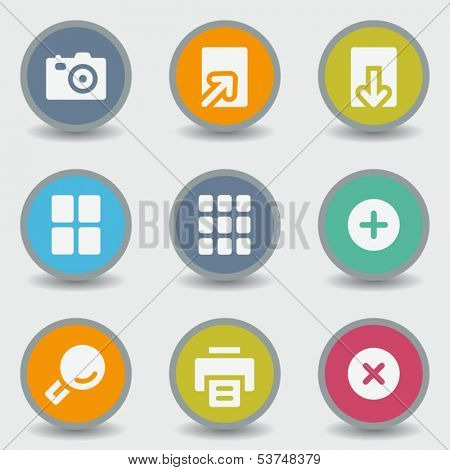Image viewer web icons, color circle buttons