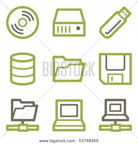 Drive storage icons, green line contour series