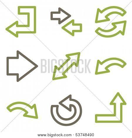 Arrows icons, green line contour series