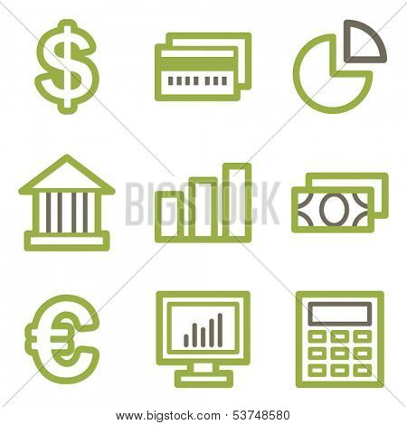 Finance icons, green line contour series