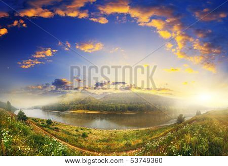 Beautiful view of sinuous river in summer. Dramatic overcast sky. Dnister River, Ukraine, Europe. Beauty world.