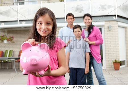 Girl Saving Money With Family At The Back