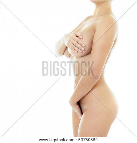 Beautiful young woman with perfect body, isolated on white background
