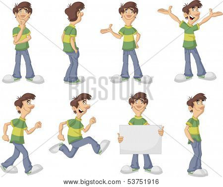 Cartoon man with green shirt on different poses
