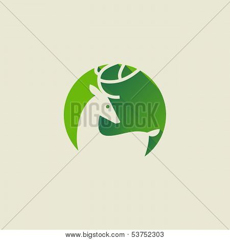 Deer. Elegant Flat Icon With Long Shadow. Vector Illustration