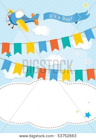 Baby shower card design. vector illustration