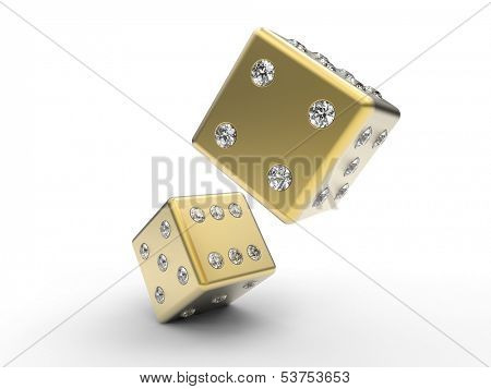 golden dice with diamond pips