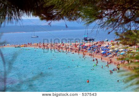 Sunbathing At The Famous Beach In Croatia