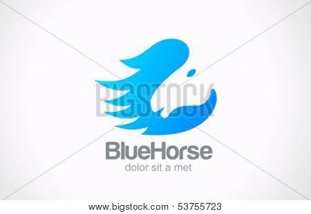 Horse silhouette abstract vector logo design template. Creative design style concept icon.