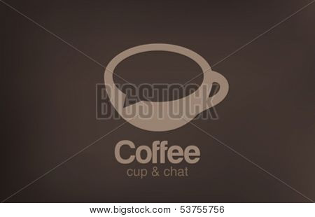 Coffee cup chat vector logo design template. Creative design cafe idea icon.