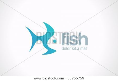 Fish abstract vector design logo template. Creative design concept. Seafood restaurant idea icon.