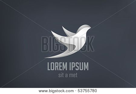 Luxury jewelery Bird flying metal abstract logo vector design template.  Steel metallic symbol icon