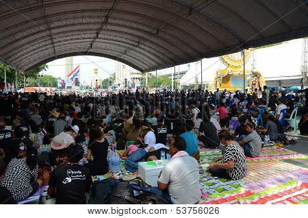 Bangkok - November 11 : The Democrats Are On The March At Democracy Monument In Bangkok, Thailand
