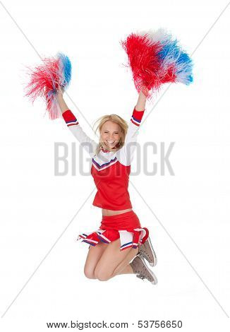 Smiling Beautiful Cheerleader With Pompoms.