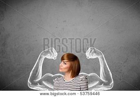 Pretty young woman with sketched strong and muscled arms