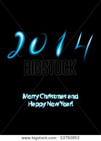 Christmas greeting card with 2014 numbers in neon lights.