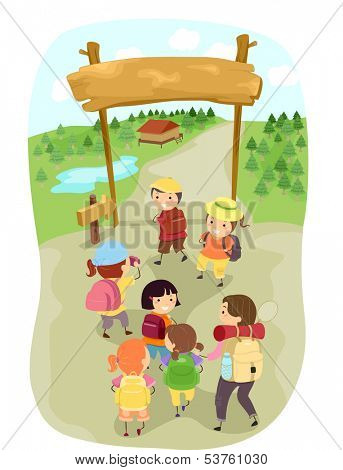 Illustration of Kids Entering a Camp Site