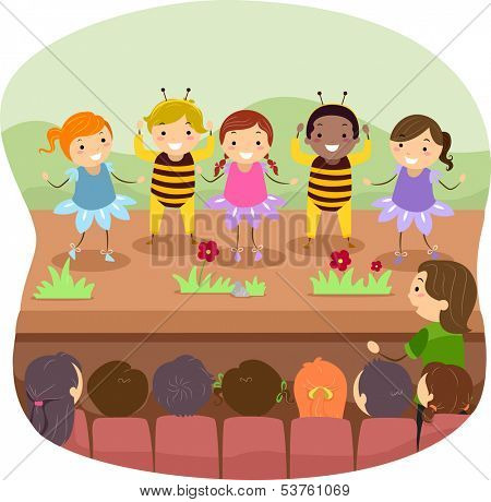 Illustration of Kids Performing Onstage for a Play