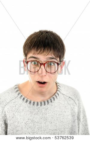 Surprised Young Man In Glasses