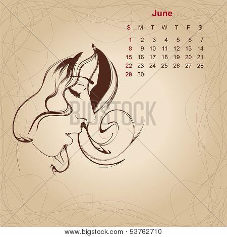 Artistic Vintage Calendar For June 2014.