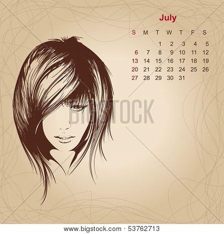Artistic Vintage Calendar For July 2014.
