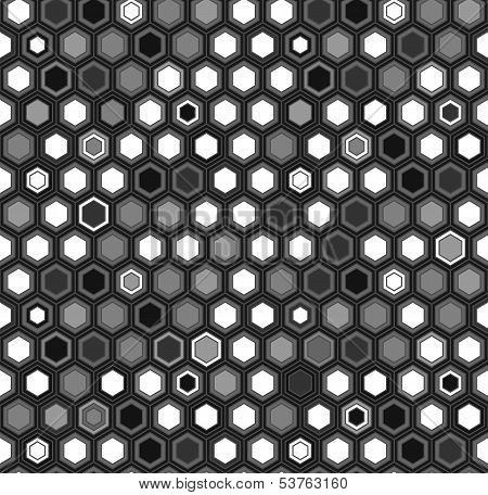 Black and white hexagon honeycomb geometric seamless pattern, vector