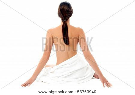 Naked Woman With Long Hair, Back Pose.