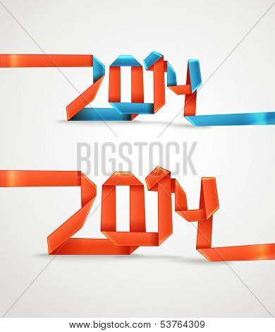Happy New 2014 year. Red and blue silk decorative ribbons oribami style set