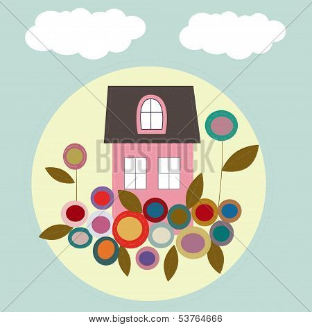 House With Flowers, Vector