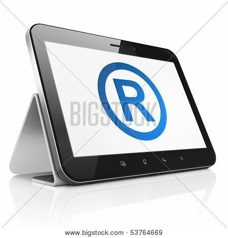 Law concept: Registered on tablet pc computer
