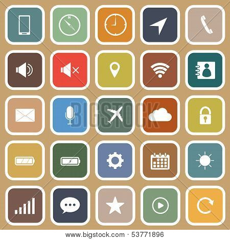 Mobile Phone Flat Icons On Brown Background