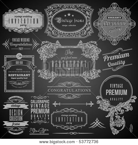 Retro Calligraphic design elements, Restaurant Menu and Frames. Set of Labels.