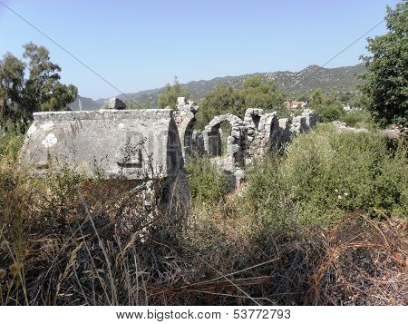 Preserved walls of hewn stone of the ancient Roman fort.