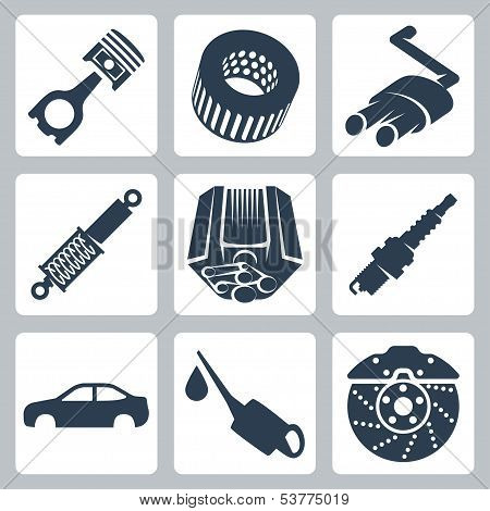 Vector Car Parts Icons Set