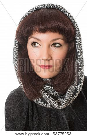 Portrait Of Beautiful  Brunette Woman In Couture Peruvian Poncho / Shawl On Isolated White Backgroun
