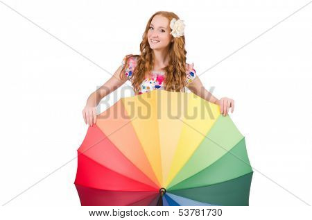 Young girl with colourful umbrella