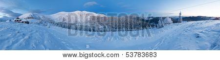 Predawn Winter Mountain Panorama (carpathian, Ukraine).
