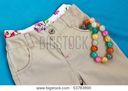Girl's  Trousers With  Underpants And Beads