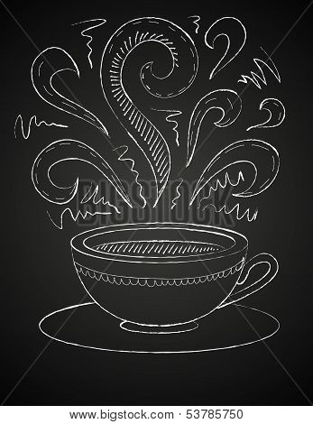 Drawing of a cup of coffee on blackboard